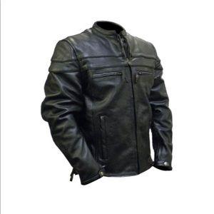 Men's leather motorcycle jacket, medium